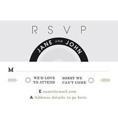 Rsvp wedding card black and grey theme vector