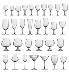 set of empty glass goblets and wine glasses vector image vector image