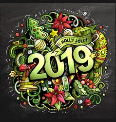 2019 hand drawn doodles chalk board vector