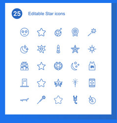 25 star icons vector image