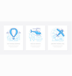 airline transportation - line design style banners vector image