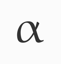 Alpha icon letter sign vector