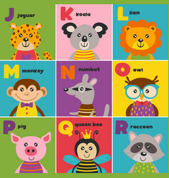 Alphabet card with cute animals j to r vector