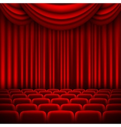 An auditorium with a red curtain vector