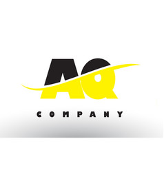 Aq a q black and yellow letter logo with swoosh vector