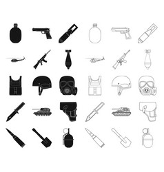 Army and armament blackoutline icons in set vector