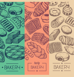 Bakehouse product vintage flyer set vector