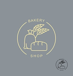 Bakery shop logo Sack of flour and bread Spikelets vector