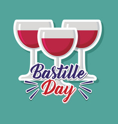 Bastille day celebration card with wine cup vector