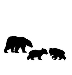 Bear family two bear cubs black silhouette animals vector