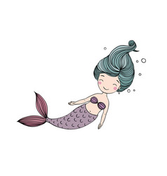 Beautiful little mermaid siren sea theme vector
