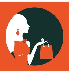 Beautiful woman shopping composed in a circle vector image