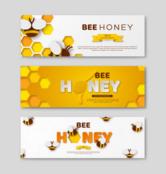 Bee honey horizontal banners with paper cut style vector