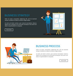 business strategy presentation with charts data vector image