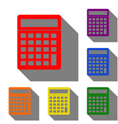 calculator simple sign set of red orange yellow vector image