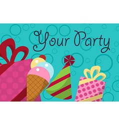 card your party with gifts balloons ice cream and vector image