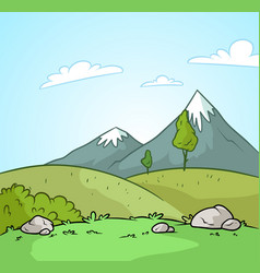 cartoon nature and mountains landscape background vector image
