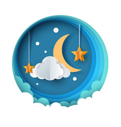 Cartoon paper night landscape moon star cloud vector
