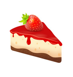 Cheesecake with strawberry piece dessert cake vector