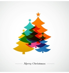 Christmas trees - colorful background vector image