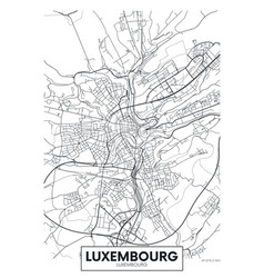 city map luxembourg travel poster design vector image