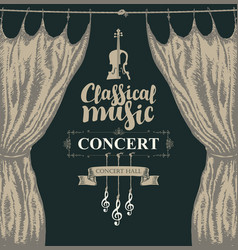 Classical music poster with violin and curtains vector