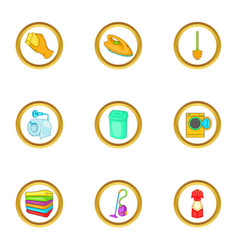 Cleaning tools icons set cartoon style vector