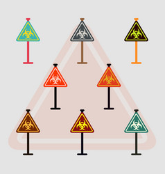 collection of road sign with an radioactive symbol vector image