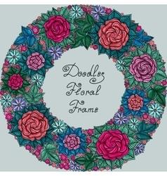 Color floral frame pattern vector