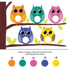 Color matching game for kids cut circles and vector