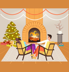 couple sitting near fireplace xmas new year vector image