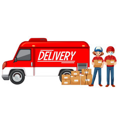 Courier with delivery van or truck vector