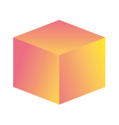 Cube retro icon vector