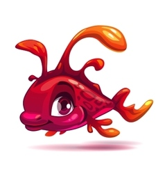 Cute fantasy red fish vector