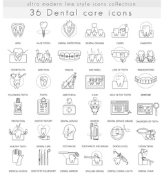 Dental care ultra modern outline line icons vector