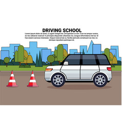 driving school poster car on road auto drive vector image