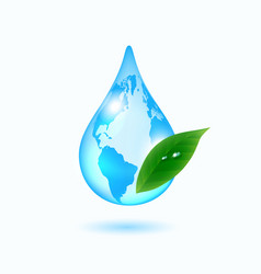Earth drop with green leaf vector