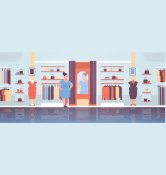 Fat obese woman trying on new dress overweight vector
