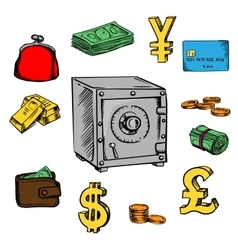 Finance business and banking sketched icons vector image