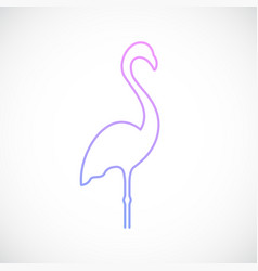 Flamingo emblem in simple line style vector