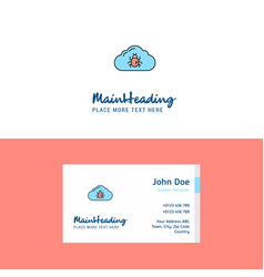 flat bug on cloud logo and visiting card template vector image