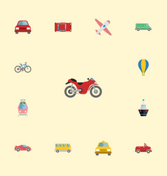 flat icons boat carriage bicycle and other vector image