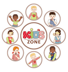 Flat multinational kids zone portrait vector