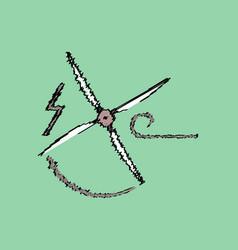 Flat shading style icon wind turbine vector