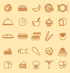 Food line icons on yellow background vector