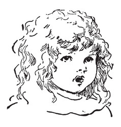 Girl a innocent young girl face vintage vector