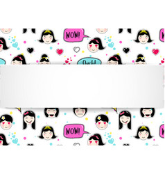 Girl banner with anime emoji pattern cute vector