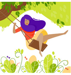 girl on tree swing in flat style cartoon vector image