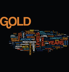 Gold market roars within five years text vector