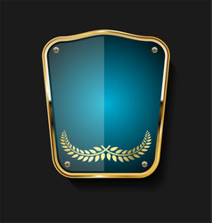 golden shield and laurel wreath retro design 15 vector image